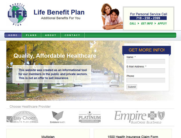 Union benefits and insurance informational website